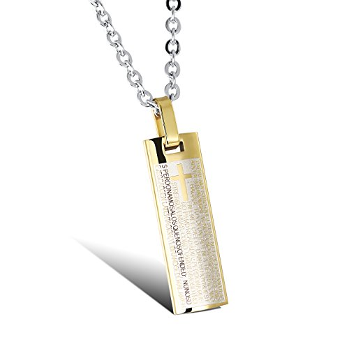 Bible Verse Cross Pendant Necklace, Lord's Prayer Cross Necklace, Stainless Steel Religion Pendant Curb Chain/Christian Jewelry with 21inch Chain for Teens/Men/Women(2 colors available) (gold)