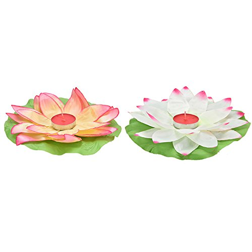 CosCosX 2 Pc Romantic Lotus Flower Rotating Lotus lights for Birthday Party Gift (Color Random)