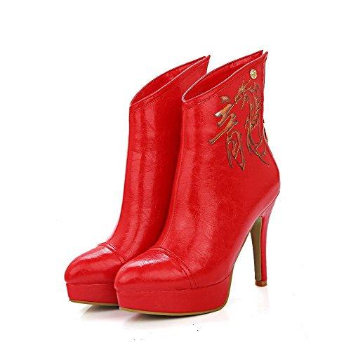 AllhqFashion Damen Wasserdicht Plattform Blend-Materialien Stiletto Spitz Zehe Stiefel, Rot, 38