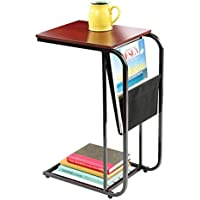 Home N Kitchenware Collection Metal end Table with Magazine Holder, Sling Fabric Magazine holder