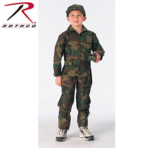 Rothco Kids Flight Coverall - Woodland Camo, - Camouflage Kids Flight Jacket
