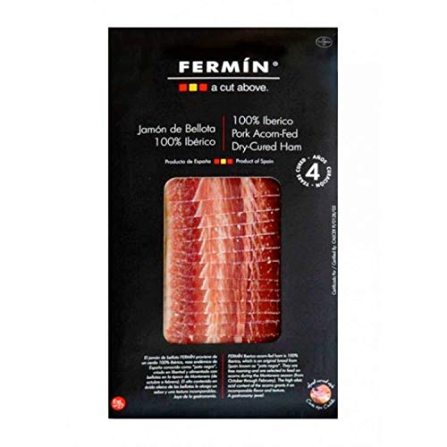 Pure Bellota Iberico Ham, Premium Quality, Hand Carved Style, 4 years curated, 100% Iberico, Pata Negra, 4 Packages - (2oz Each)