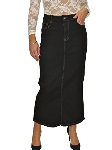 icecoolfashion Ice Maxi Long Jeans Skirt Stretch Denim Soft Wash Black 8-18 (14) (Long Denim Skirt Size 8)