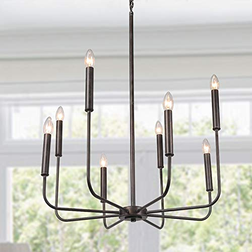 (LALUZ 8-Light Rust Kitchen Island Lighting Transitional Chandelier, 26.4