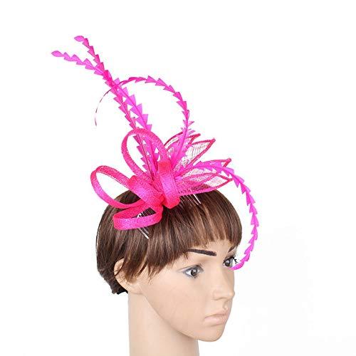 HappyShopDecoration Womens Fascinator Hat Elegant Feather Sinamay Hat Bridal Headwear Party Cap