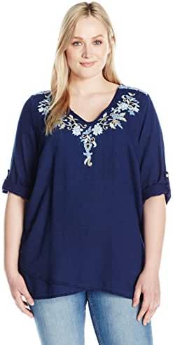 Karen Kane Women's Plus Size Crossover Embroidered Top