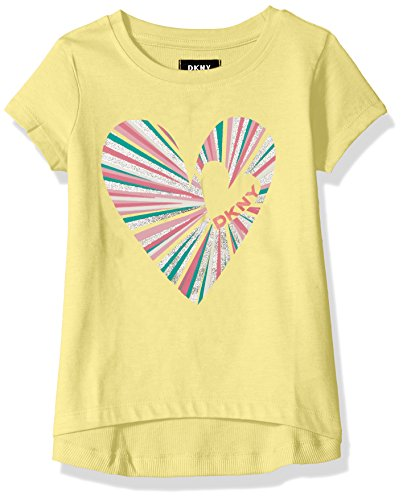 DKNY Toddler Girls' Short Sleeve T-Shirt, Heartbreaker Lemonade, (Dkny Kids Clothing)
