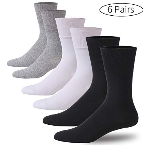 Forcool Women's Men's Diabetic Extra Wide Crew Dress Cotton Socks with Non Binding Loose Top Seamless Toe, 6 Pairs Black&Gray&White X Large