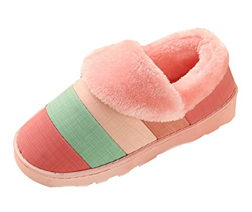 slip Indoor Slipper Plush Pink Fleece Warm Winter Clog EVA Memory Stripe House with Liveinu Slippers Anti Sole Pattern Foam Unisex FOqf6f