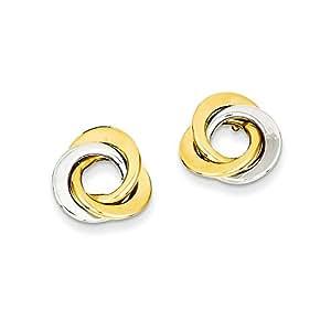 14ct de círculos entrelazados de dos-tono Post pendientes pulidos - JewelryWeb