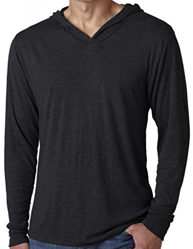 Mens TriBlend Lightweight Hoodie Tee, Medium Vintage Black