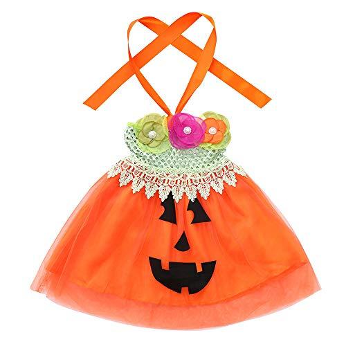 HYIRI 2018 Promotion Halloween Children Kids Girls Sleeveless Floral Pumpkin Print Tutu Dress