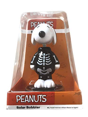 Peanuts Snoopy Halloween Bobble Head Solar Dancer Skeleton ()