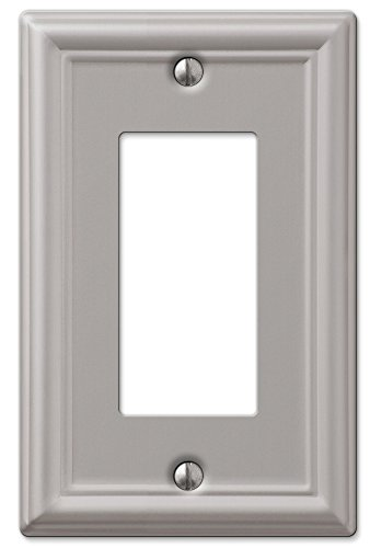 AmerTac 149RBN Amerelle Chelsea 1 Rocker Wallplate, Brushed Nickel - Collection Quad Outlet Plate