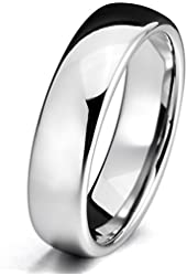 Silver 6mm Tungsten ring Band Comfort Fit Wedding Engagement Promise Polished