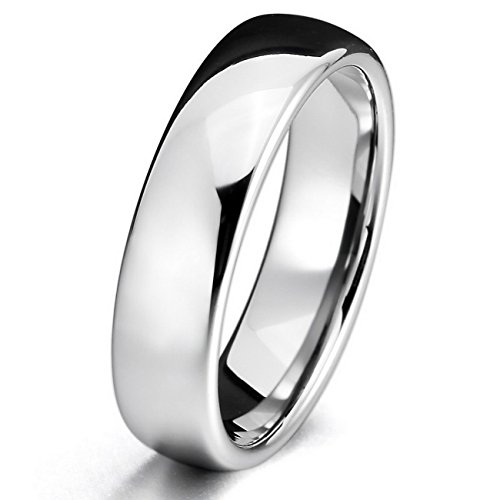 MOWOM Silver 6mm Tungsten ring Band Comfort Fit Wedding Engagement Promise Polished Size 10