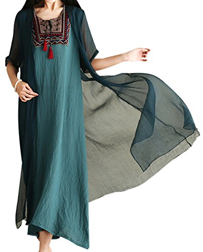 BLACKMYTH Femme t Casual Grande Taille Coton Lin Broderie Col Rond Longue Robe Vert