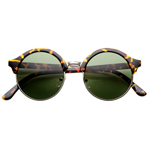 zeroUV - Vintage Inspired Classic Half Frame Semi-Rimless Round Circle Sunglasses (Tortoise - Black Or Tortoise Clubmaster
