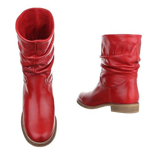 Ital-Design - Botas plisadas Mujer Rojo