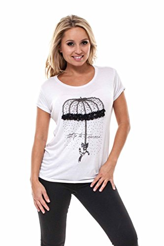 VIRGIN ONLY Women's Graphic T-shirt With Embellish Detail Along The Print (20 White, Size Medium) (Graphic T-shirt Rhinestone Tee)