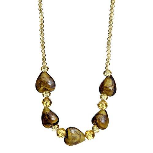 "Lova Jewelry ""Café au Lait"" Hand-Blown Venetian Murano Glass (Heart Venetian Necklace)"