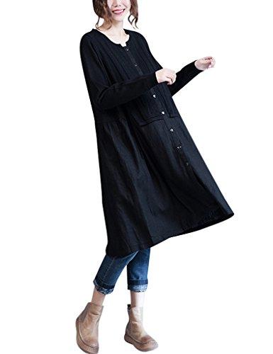 Youlee Mujer Primavera De punto Patchwork Abotonar Vestido de Blusa Negro