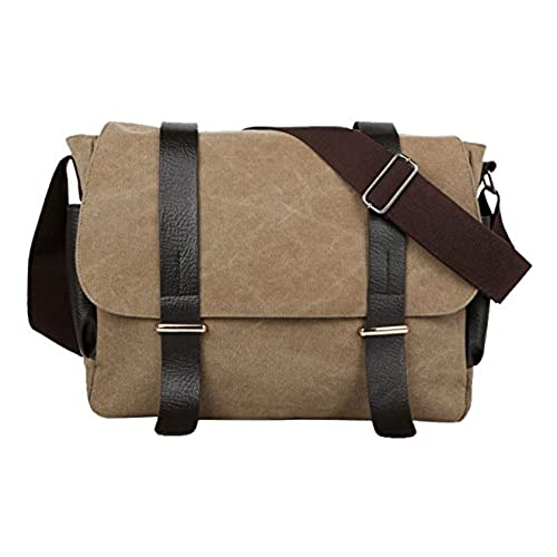 d6c9032529 30%OFF HONEYJOY Retro Canvas Leather Satchel Messenger Laptop Shoulder  Crossbody Sling Bag