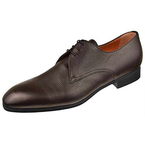 Santoni Men's Shoes Wescott Plain Toe Blucher 13 D Brown (Mens Blucher Toe Plain Shoes)