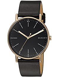 Skagen Men's 'Signatur' Quartz Stainless Steel and Leather Casual Watch, Color:Black (Model: SKW6401)