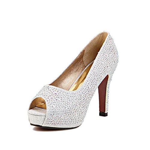 de tacón blanco diseño plata pez mujer Xue para con Qiqi y de alto tacón Zapatos HxST7qz