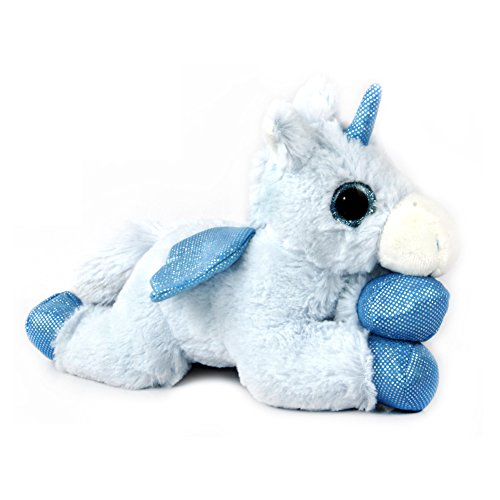 WILDREAM Blue Unicorn Sparkle Big Eyes 11, Unicorn Plush Toy with Wings