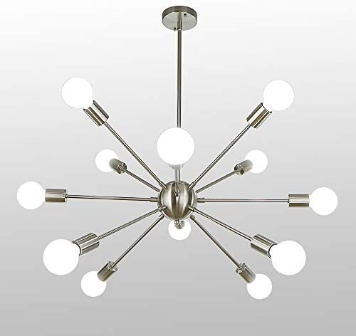 LynPon Sputnik Chandelier 12 Lights Mid Century Lighting Nickel Plating Modern Ceiling Light Fixture for Kitchen Dining Room Living Room