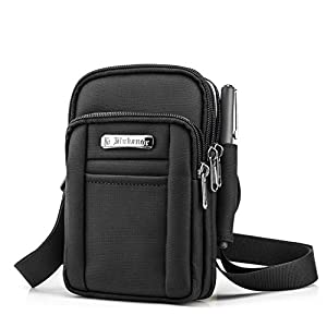 BAGZY Mens Small Shoulder Bag Side Bag Outdoor Sports Hiking Waist Pack Crossbody Tactical MOLLE EDC Cellphone Pouch Belt Bum Bag Drop Leg Bag Hip Bag Messenger Sling Bag Travel Bag Black