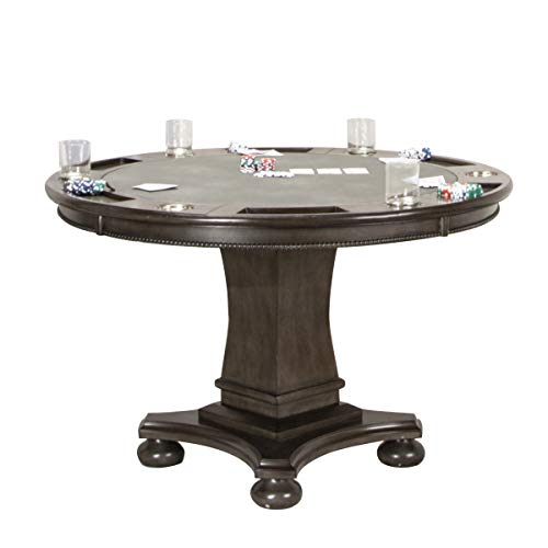 Sunset Trading Vegas Dining and Poker Table, 2 in 1 Game, Distressed Gray Wood