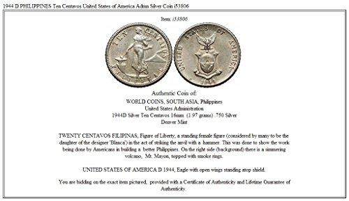 1944 Unknown 1944 D Philippines Ten Centavos United States Of Coin