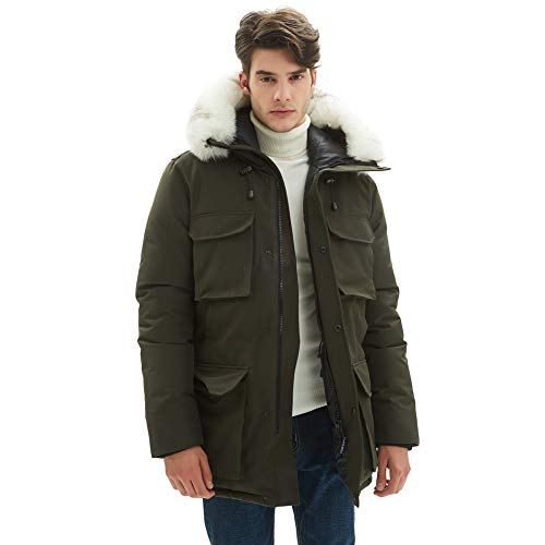 PUREMSX Military Warm Overcoat Mens, Classic Designer Multi Pockets Heavyweight Snorkel Insulated Heavy Windproof Waterproof with Fur Trimmed Hood Long Puffy Parka Jacket with Hoods,Army Green,Large (Layer Puffy Jacket)