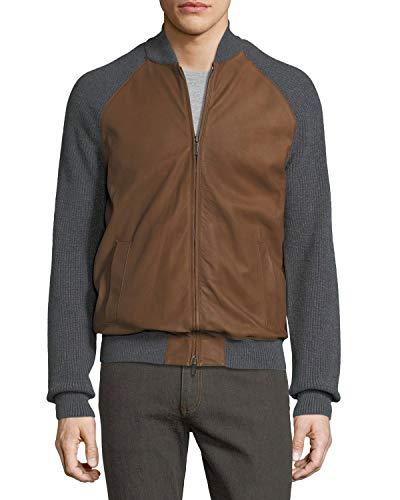 Ermenegildo Zegna New Gray Cashmere & Lambskin Leather Zip-Front Cardigan