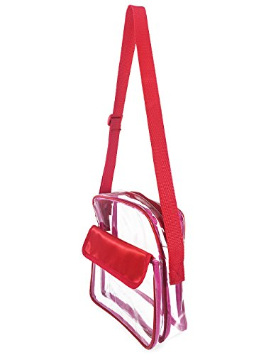 Events Stadium Approved Clear Messenger Bag Clear Shoulder Bag Transparent Purse with Adjustable Strap (Red) ()