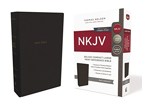 (NKJV, Deluxe Reference Bible, Compact Large Print, Leathersoft, Black, Red Letter Edition, Comfort Print: Holy Bible, New King James Version)
