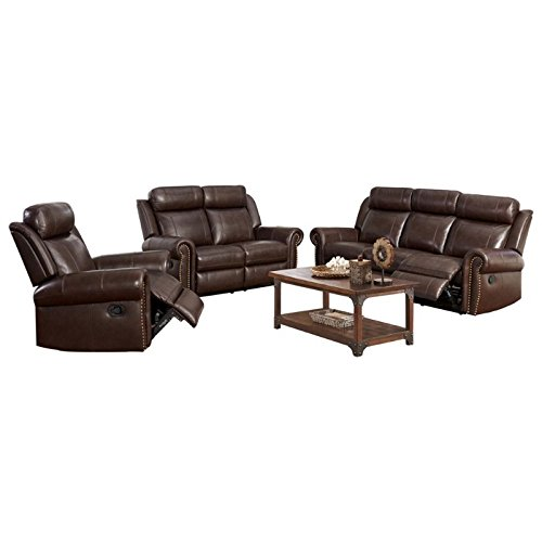 Abbyson Living Ellie 3 Piece Top-Grain Leather Reclining Set in  sc 1 st  Furniture.com & Leather Recliners For Sale: Leather Recliner Chairs Online islam-shia.org