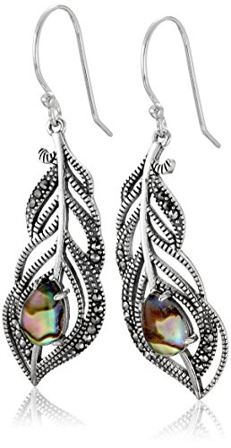 Sterling Silver Multi Shaped Abalone and Marcasite Peacock Style Drop Earrings