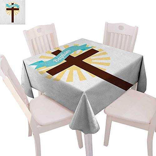 Religious Printed Tablecloth Sign on Ribbon Cross Ritual Newborn Religious Event at Building Art Flannel Tablecloth 54