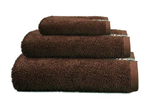 ADP Home - Juego de Toallas 550 Grms 3 Piezas (Toalla Ducha/Baño, Lavabo/Mano, Tocador) 100% Algodón Peinado - Color: Chocolate: Amazon.es: Hogar