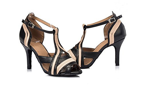 M US Wedding Samba Modern 5 TDA Latin Dance Leather Shoes 6 T LD050 PU Black Sandals Womens Rumba Strap q7pfTx