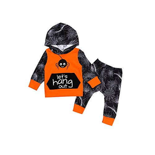 XiaoReddou Toddler Baby Boy Spider Net Hoodie Top+Long Pant Clothes Set Halloween Outfit 2pcs (Orange, Gray, 2-3Y) -
