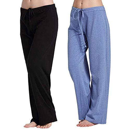 2PC Casual Stretch Cotton Pajama Pants Women Simple Sport Yoga Trousers Pants