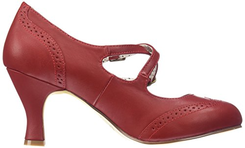Faux Rot Scarpe Tacco Up Col Red Couture Donna Punta Pin 35 Leather Chiusa Flapper Z7Hy4v