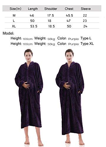 805c63eadb Hellomamma Womens Soft Long Fleece Dressing Gown Full Length Fluffy  Bathrobe Sleepwear Zip Up