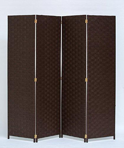 Room Divider 4 Panel Weave Design Paper Fiber Brown Color By Legacy Decor by Legacy Decor