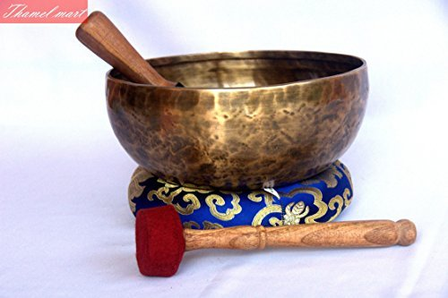 Throat Chakra and Zeal Chakras G Note Antique Hand Hammered Tibetan Meditation Singing Bowl 9 Inches - Yoga Old Bowl By Sinigng bowl house